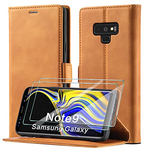 xinyunew Schutzhülle für Samsung Galaxy Note 9 Hülle, Leder Flip Wallet Schutzhülle, Magnetverschluss Leder Flip Schutzhülle Lederhülle für Samsung Galaxy Note 9 Hülle (Braun)