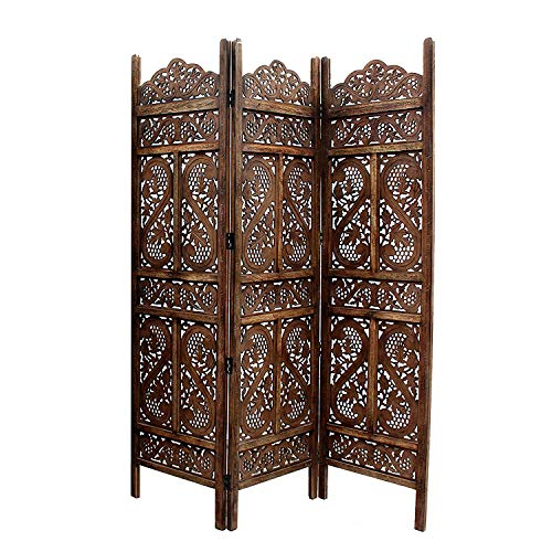 Artesia Handcrafted 3 Panel Wooden Room Partition/Screen Separator (L-60 in x W- 0.75 in x H-72 in)