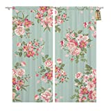 Golee Window Curtain Blue Pattern Vintage Floral Flower Colorful Romantic Rose Painting Home Decor Pocket Drapes 2 Panels Curtain 104 x 84 inches