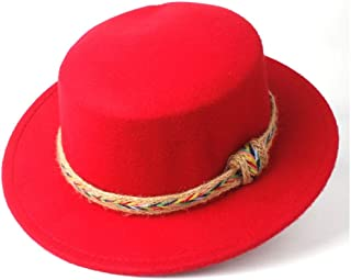 WUNONG-AU Men's and Women's Flat Top Cap Fedora Ms. Fascinator Casual Wild Style British Style Top Hat Gentleman Daddy Church Hat (Color : Red, Size : 56-58)