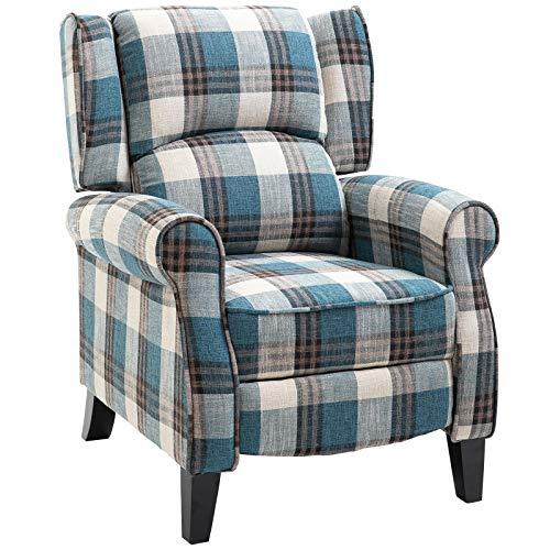 HOMCOM Single Armchair Sofa Push Back Recliner Living Room Furniture Cushion Padded Seat w/Armrest