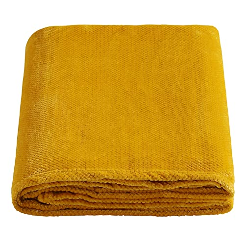 SOCHOW Flannel Fleece Throw Blanket with Super Soft Waffle Textured Patterns, No-Shedding Warm, Lightweight, Versatile for All Seasons, Perfect for Bed Sofa Couch (228cm x 228cm), Mustard Yellow