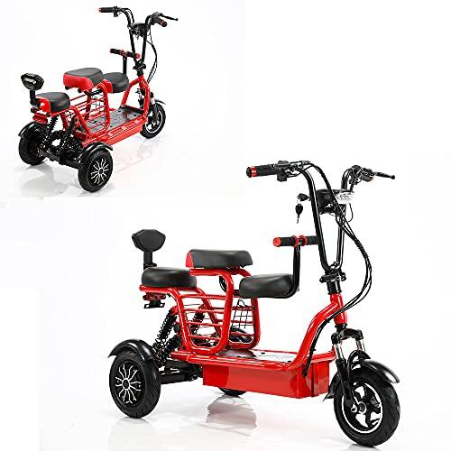 dreirad für erwachsene, 700-W-Motorroller mit zwei Antrieben für den Transport von 48V15A-Lithiumbatterien, geeignet für ältere/behinderte/erwachsene Outdoor-Transporte / 55 km (红色)