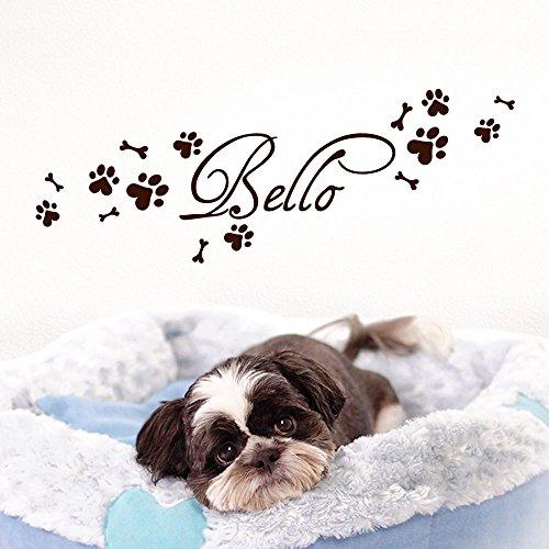 Grandora Wandtattoo Wunschname + Hundepfote Knochen I braun (BxH) 50 x 15 cm I Flur Wohnzimmer selbstklebend Aufkleber Wandaufkleber Wandsticker W806