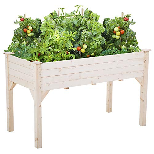 Garden Raise Bed 49x24x30 Inch Elevated Garden Bed Wood Planter Box Kit for Vegetable Flower Outdoor Yard Gardening Planter Box Wooden Garden Box with Legs Patio Greenhouse