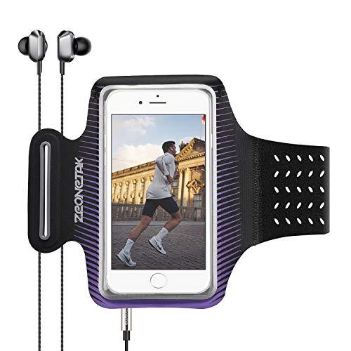 Zeonetak Sport Armband Schweißfest Atmungsaktiv Handy Armtasche mit Kartentasche Kopfhörerhalter Elastisch Handytasche für Samsung, iPhone 6/7/8/X/XS/XS MAX/XR/iPhone 11,HUAWE P30/P20/mate 30/XiaoMi