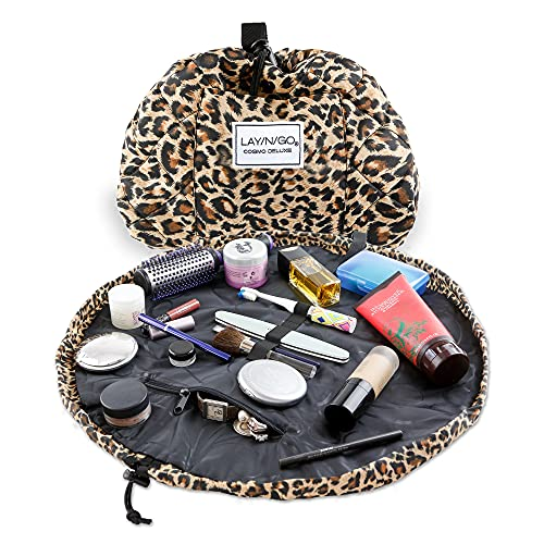 Lay-n-Go Cosmo Deluxe Drawstring Makeup Organizer Cosmetic & Toiletry Bag for Travel, and Daily Use with a Durable Patented Design, 22 inch, Leopard