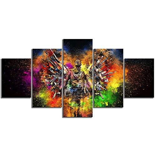 CJWLH 5 Piezas Lienzos Cuadros Impresos Wall Art Armas de Counter Striker Módulo De Decoración del Hogar Cartel para Sala De Estar-20x35cmx2 20x45cmx2 20x55cmx1