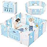 Baby Playpen, Dripex Upgrade Foldable Kids Activity Centre Safety Play Yard Home Indoor Outdoor Baby Fence Play Pen NO Gaps with Gate for Baby Boys Girls Toddlers (14-Panel, Blue + White)