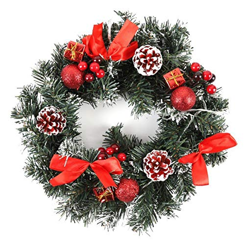 QT HOUSEWARE Fall Wreaths for Front Door 10-16 Inch - LED Christmas Wreath with Battery Powered LED Light String Front Door Hanging Garland Holiday Home Decorations
