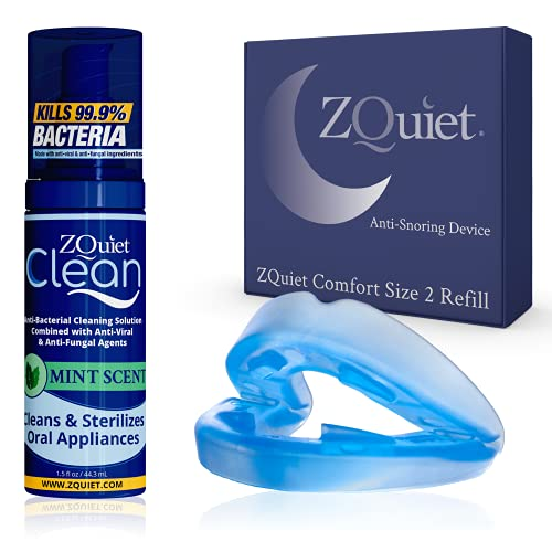 ZQUIET Anti-Snoring Mouthpiece Solution -Comfort Size #2 (Single Device, No Storage Case) + Anti-Bacterial Cleaner (1.5oz Bottle) -Made in USA & FDA Cleared, Sleep Aid, Dentist Designed Oral Appliance