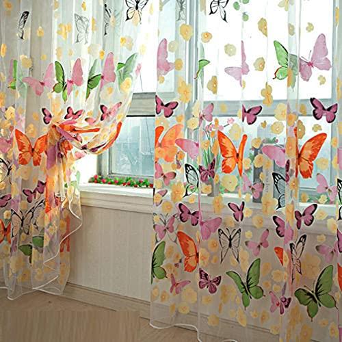 ANLONGLI Butterfly Cortina Ventana Balcón Impresión Pura Ventana Panel Cortinas Sala Divisor Nuevo para la Sala de Estar Dormitorio Chica,200cm x 100 cm