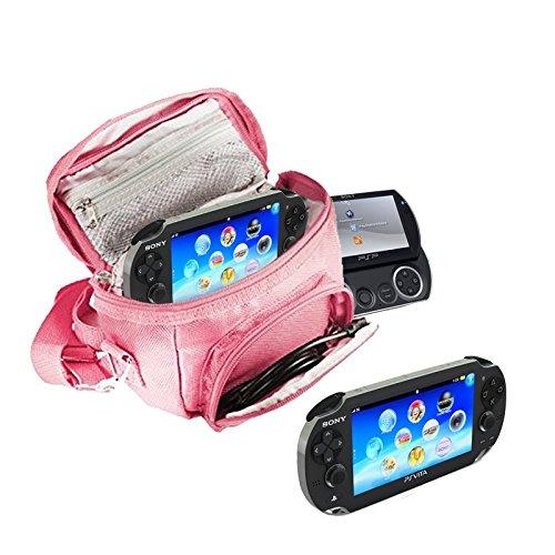 Orzly® - SPIELE & KONSOLEN (REISE-) TASCHE für die Sony PSP Konsolen (GO / VITA /1000/2000/3000) mit speziellen Fächern für die Aufbewahrung von Spielen und Zubehör. Tasche enthält Schultergurt, Tragegriff und eine Gürtelschlaufe – Pink / Rosa