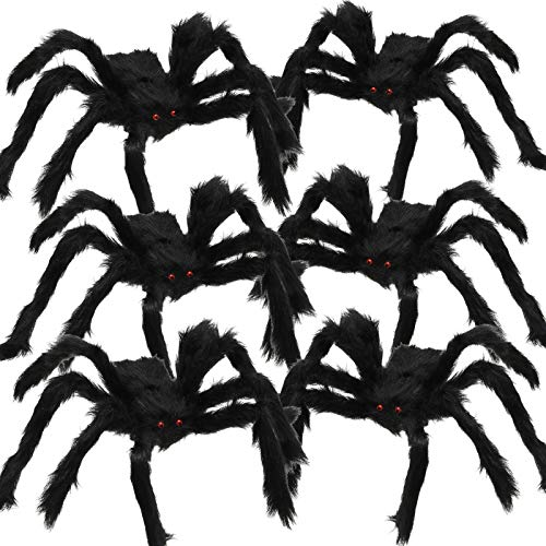 Gejoy 6 Pieces Hairy Spiders Fake Spiders Plush Spiders Realistic Spiders for Halloween Decorations Prank Props (Black Orange, Black White and Black (Black)