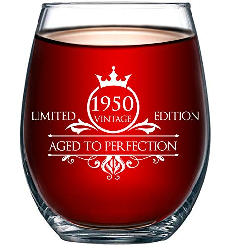 1950 70th Birthday Gifts for Women and Men Wine Glass - Funny Vintage Aged To Perfection - Anniversary Ideas for Mom Dad Husband Wife – 70 Year Old Party Supplies Decorations for Him, Her - 15oz