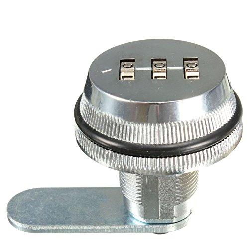 Cerradura de combinacion de codigo - TOOGOO(R) Cerradura de combinacion de codigo de aleacion sin llave de caja de correo del poste y de armario RV 3 Dial plata