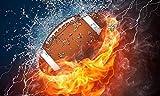 GIEAAO 5D Kit de pintura de diamante DIY quemando fútbol, pintura con diamantes Sport Full Drill Round Rhinestone Craft Canvas para el hogar regalo decoración de pared adultos 30,5 x 40,6 cm