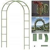 EXLECO Arco para rosales de 240 x 140 x 38 cm, marco de metal de acero, pabellón, pérgola, jardín, para plantas trepadoras, resistente a la intemperie, decoración de jardín, color verde