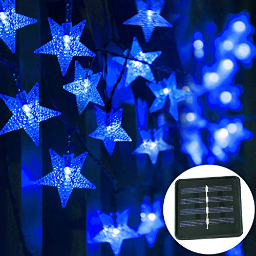 Windpnn Solar String Lights 30.6 ft 50 LED Outdoors Solar Powered Star String Lights Waterproof Led Garden Decorative Fairy Christmas Lights for Garden, Patio Home Wedding Party (Blue)