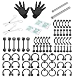 ORAZIO 84PCS Professional Piercing Kit Stainless Steel 14G 16G Belly Tongue Tragus Nipple Lip Nose Ring Body Jewelry (B:1SET Black)