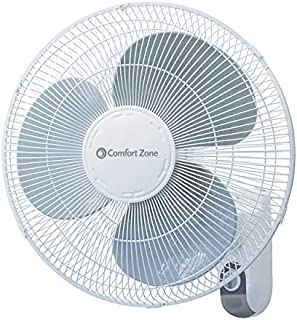 """16"""" Wall Mount Fan House Fan by Comfort Zone   3-speed Options, Adjustable Tilt Head, Variable Length Timer. Powerful Air Flow (White)"""