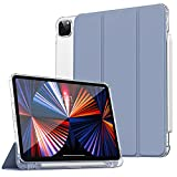 Dadanism Case for New iPad Pro 12.9 inch Case 2021 (5th Gen)/2020 (4th Gen) with Apple Pencil Holder, Soft TPU Translucent Frosted Back Cover for iPad Pro 12.9' 2021/2020, Auto Wake/Sleep, Grey Purple