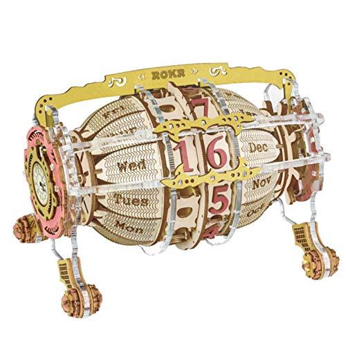 Speaklaus Time Engine Kalender DIY Tischuhr und Kalender Holz 3D Puzzles DIY Modell Kits für Erwachsene Kinder, Jugendliche und Kinder - Ideale Weihnachts- und Neujahrsgeschenke - Schöne Dekoration