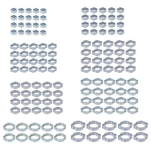 140 Piezas Abrazaderas de Manguera Oreja Doble 5-23mm Clips de Tubería Chapado en Zinc Anticorrosión Clips de Fijacción para Mangueras de Agua y Combustible