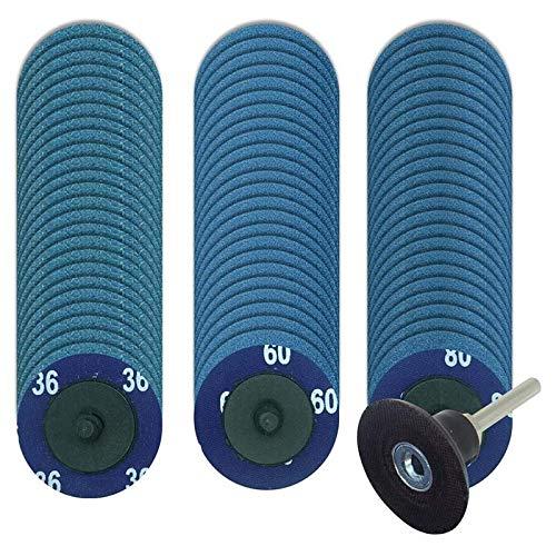Gaetooely 75 Piezas Discos de Cambio RáPido Discos de Lijar de Circonio con Soporte de 1/4 de Pulgada, Discos de Lijado Roloc de Amoladora de 2 Pulgadas para Pulir Pulido
