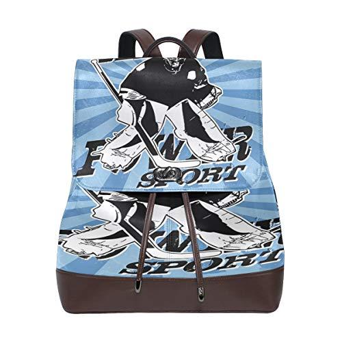 Hockey-Rucksack für Damen, PU-Leder, Geldbörse, Reisen, Schule, Schultertasche, lässiger Tagesrucksack