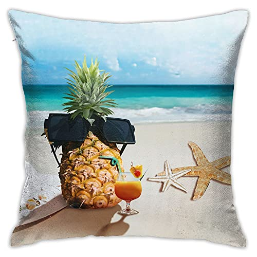 EZYES Beach Pineapple Sunglasses Pillow Cover Shell Sea Star Seascape Pillow Protector Blue Throw Pillow Caser Home Decoration 18x18 inches