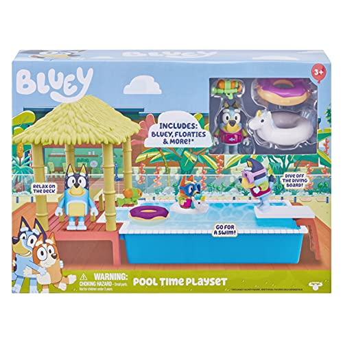 Bluey Pool Playset and Figure, 2.5-3 inch Articulated Figure and Accessories, Multicolor (13065)
