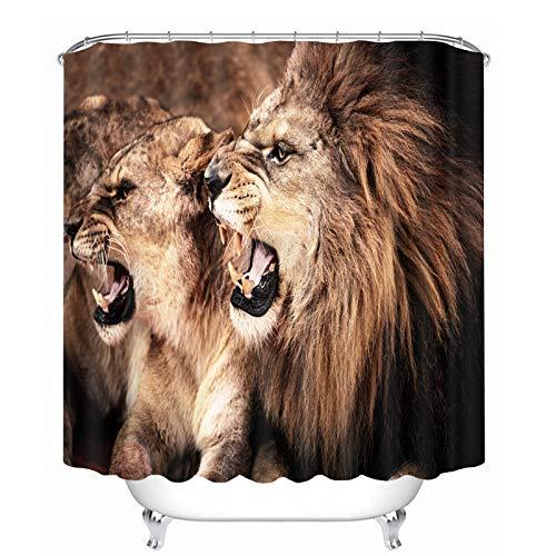 Tong XIN Lion bête Crocs Marron Rideau de Douche Style et Textile 180x180cm