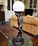 Art Deco Bronze Handpainted Lady Dancer with Scarf Lamp Light with Glass Shade by Deco Art