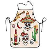 Mexican Symbols,Funny Design Apron Personalized Kitc Restaurant Pinafore with Neck Strap Chef Home Barber Kitchen Gardening