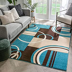 Echo Shapes & Circles Blue & Brown Modern Geometric Comfy Casual Hand Carved Area Rug 5×7 ( 5'3″ x 7'3″ ) Easy Clean Stain Fade Resistant Abstract Contemporary Thick Soft Plush Living Room Rug