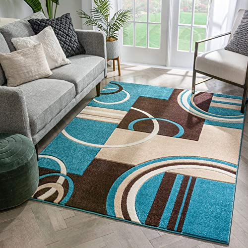 Echo Shapes Circles Blue Brown Modern Geometric Comfy Casual Hand Carved 9x13 (9'3'' x 12'6'') Area Rug Easy to Clean Stain Fade Resistant Abstract Contemporary Thick Soft Plush Living Dining Room Rug