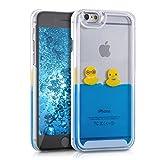 kwmobile Étui Rigide Coque pour Apple iPhone 6 / 6S avec du Liquide - Coque Rigide Couvercle de Batterie étui Coque de Protection Eau avec Canards en Jaune-Bleu-Transparent