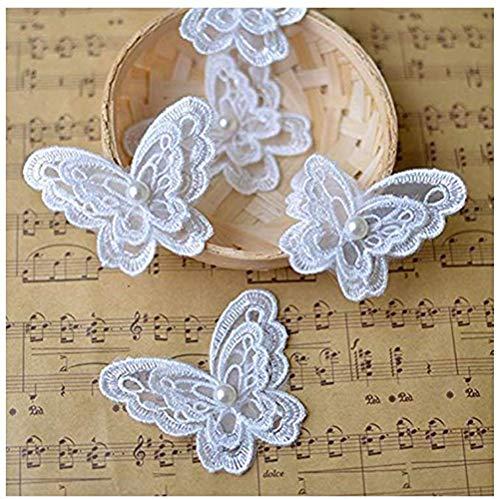 ANNIUP 10 Stück Aufnäher, weißer Organza-Stickerei, für Kleidung, 3D-Perlen, Schmetterling, Blumen, Chiffon, Kleid, Applikation