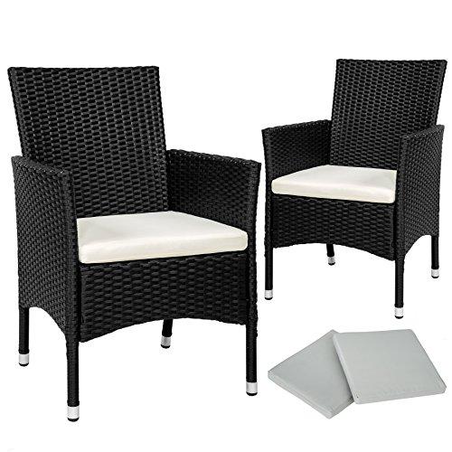 TecTake 2x Chaise de jardin en poly rotin résine tressé + coussin + deux set de housses + vis en acier inoxydable - diverses couleurs au choix - (Noir | No. 402122)