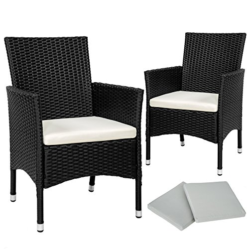 TecTake 2 x Poly rattan garden chairs set + cushions + 2 sets for exchanging the upholstery + stainless steel screws (Black | No. 402122)