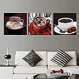 ganlanshu Pintura sin Marco Pintura al óleo Moderna 3 Piezas de decoración del hogar Lienzo Modular Arte de la Pared Abstracto Cafe posterZGQ4124 70X70cmx3