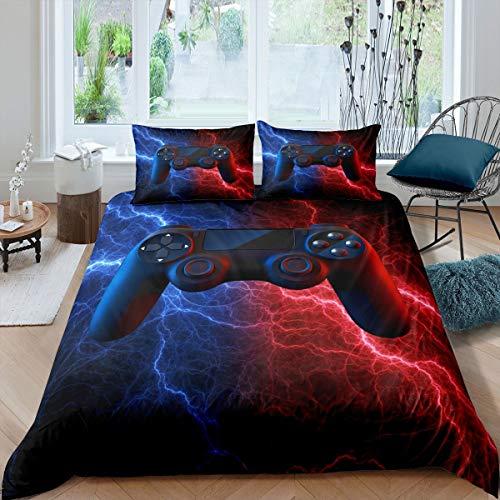 Gamer Gaming Bedding Sets Queen Size,Lightnings Gamepad Duvet Cover,Video Games Comforter Cover for Kid Teens Boys Man,Game Controller Bedroom Decor 3 Pcs Bedding Set,Red Blue