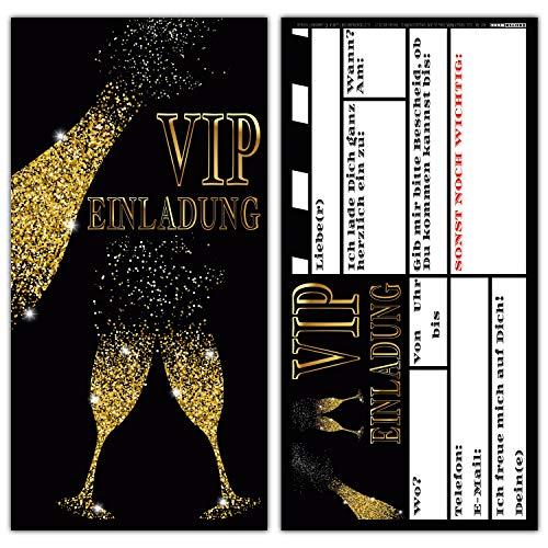 14er Set VIP EINLADUNG BUBBLES - Premium Einladungskarten in Schwarz & Gold für V.I.P. Party Silvester-Party Einweihung Geburtstag von Breitenwerk
