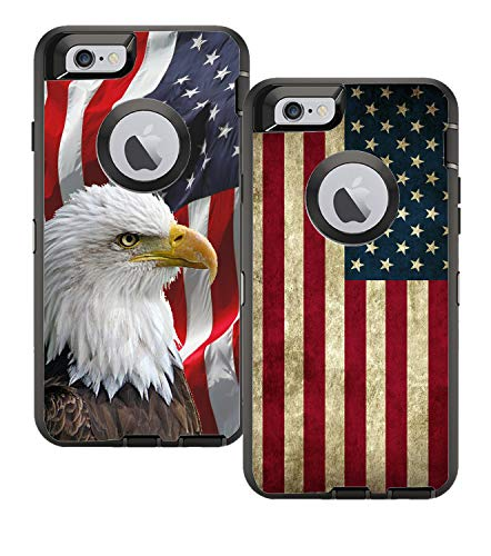 Teleskins Protective Designer Vinyl Skin Decals/Stickers Compatible with Otterbox Defender iPhone 6 Plus/iPhone 6S Plus Case - Bald Eagle American Flag and Grunge USA American Flag [Pack of 2 Skins]