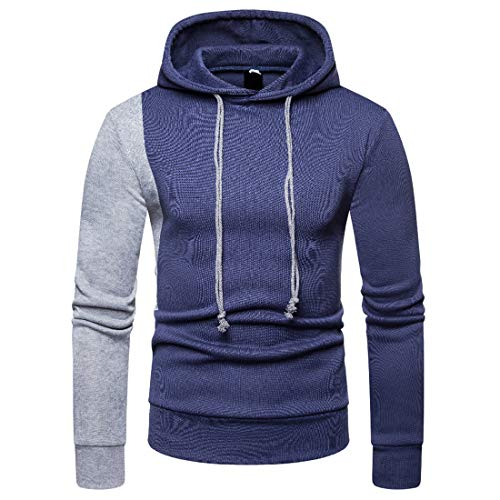 Pullovers Herren Sweatshirts Herren Frühling Herbst Modetrend Sport Laufen Fitness Kordelzug Kontrastfarben Ärmel Boutique Herren Tops Blue. XXL