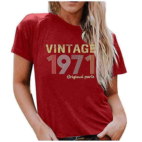 50th Birthday Gifts for Women Vintage Premium 1971 T-Shirt 50th Birthday Gift T Shirt Vintage 1971 Original Parts Tee Cute Tee Funny Letter Print Greeting Party Tops Blouse