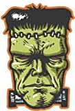EW Designs Scary Frankenstein with Bolts and Stitches Green Black Orange Vinyl Decal Bumper Sticker Two in One Pack (4 Inches Tall)