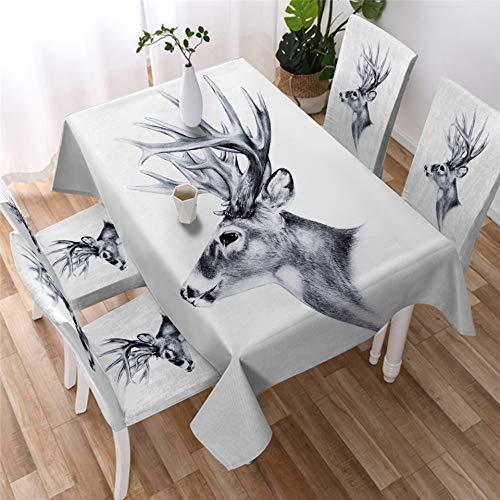 UCKSL Elk nórdica manteles Moose Mantel Blanco Wild Animal Art Reno Cubierta Mesa de la Cocina 1 140x160 - Tablecloth