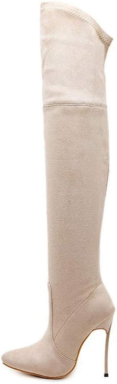 GSAYDNEE Elastische Overknee-Damenstiefel Mit Hohem Absatz, Absatzstiefel Aus Metall (Farbe   Beige, Größe   37)  | New Style  | Sehen Sie die Welt aus der Perspektive des Kindes  | Stil